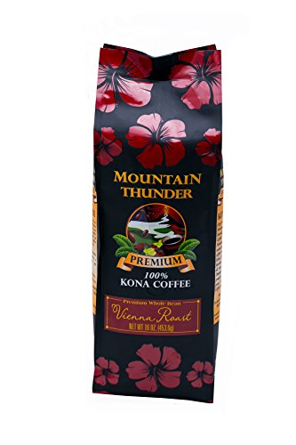 100% Kona Coffee - Premium - Whole Bean - Vienna Roast - 16 Ounce Bag - by Mountain Thunder Coffee Plantation