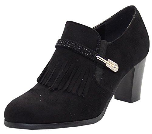 Shoes Golden Fringe True Heel Buckle Black Women and Face Diamante ffw78E