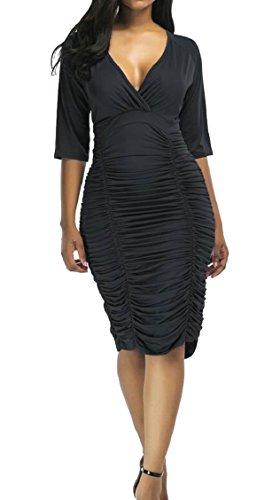 Jaycargogo Sexy Manches 3/4 Plisser V-cou Solide Robe Midi Moulante Des Femmes Noires