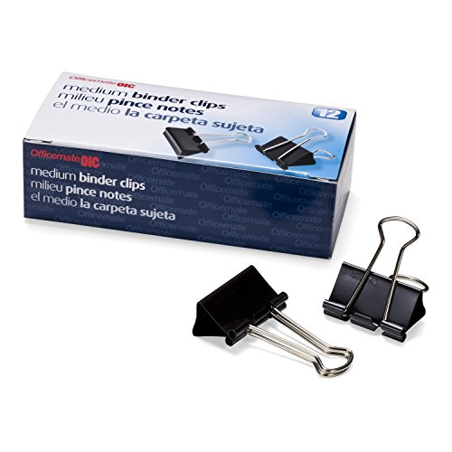 Officemate Medium Binder Clips, Black, 12 Boxes of 1 Dozen Each (144 Total) (99050) (Binder Clips Medium)