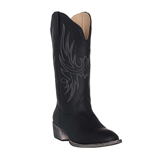 Women's Western Cowgirl Cowboy Boot | Black Cimmaron Round Toe by Silver Canyon -