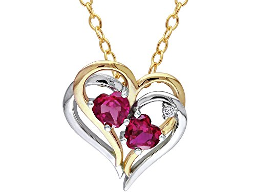 Created Ruby Heart Pendant Necklace 1.20 Carat (ctw) with Diamonds in Sterling Silver with Yellow Plating with chain (Ctw Ruby Diamond Pendant)