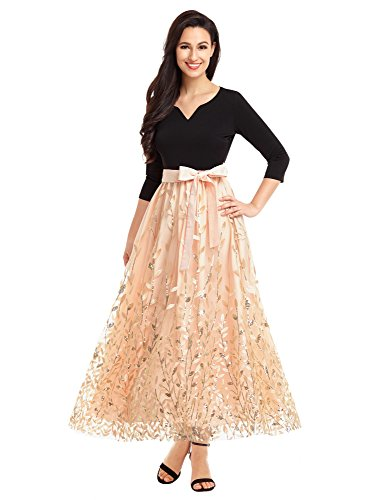 LookbookStore Women's A Line V Neck 3/4 Sleeve Gold Leaf Sequins Applique Pattern Tulle Flowy Flare Circle Belted Long Maxi Bridesmaid Party Prom Dress Champagne Color For Woman Size XXL (US 22-24)