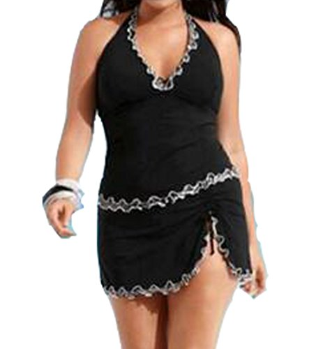 Blugibedramsh Womens Plus Size Tankini Swimsuits Ruffled Two Piece Bathing Suit Swimwear Black ( L )