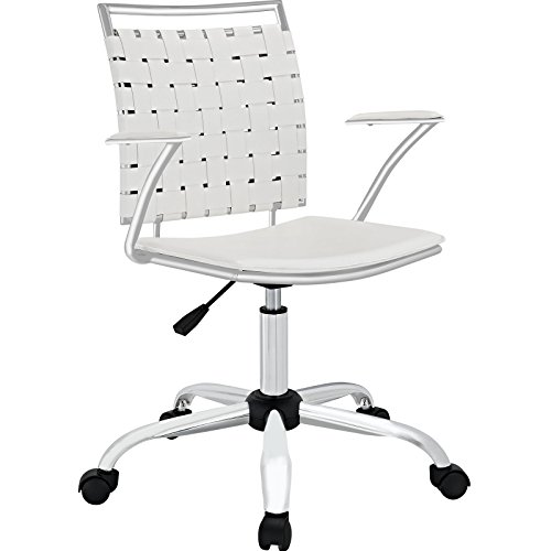 Modway Fuse Webbed Back Faux Leather Adjustable Office Chair in (Woven Back Chairs)