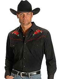 Men's Embroidered Rose Design Western Shirt - 15203901-88Blk