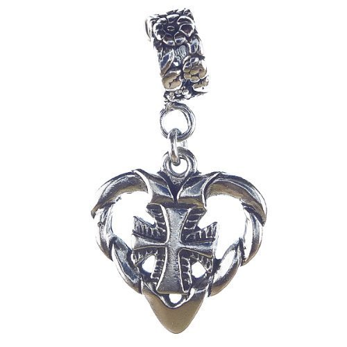 Cross in Heart Sterling Silver Dangle Charm by CharmS cool