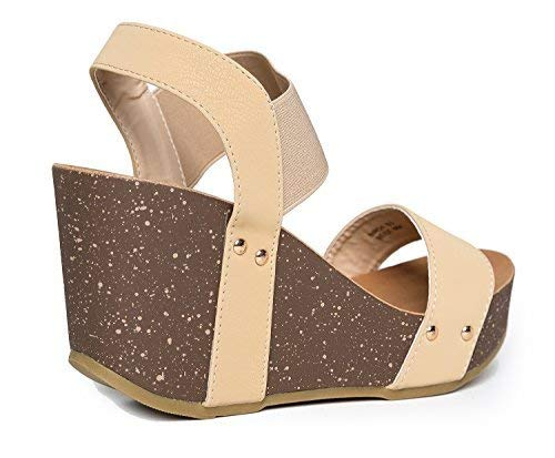 db4625b92ab J. Adams Elastic Ankle Strap Platform Wedge Comfortable Open Toe Sandal  Casual Low Slip On