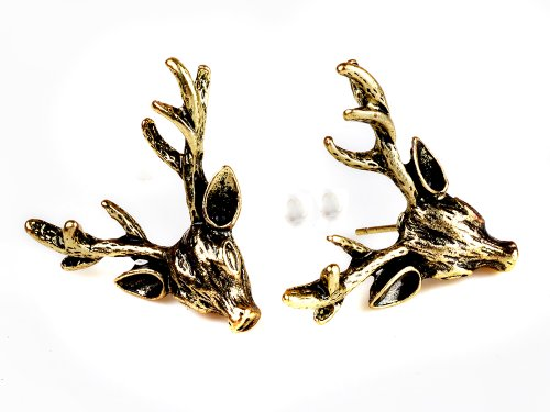 Metal Vintage Bronze Deer Earrings