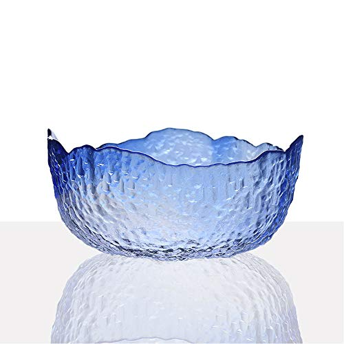 Jomop Abstract Modern Fused Glass Salad Bowl Minimalist Glass Dinnerware Glass Tableware Irregular Shaped Décor Art (1.5 qt, Blue)