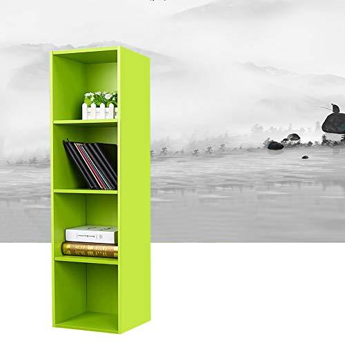 EBTOOLS 4 Layers Green Long Bookcase, Adjustable 3/4 Cube Bookshelf Office Book Display Shelf Storage Wood Furniture -