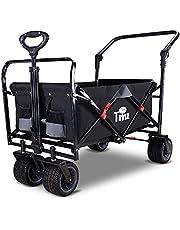 TMZ All Terrain Wide Wheel Utility Folding Wagon, Collapsible Garden Cart, Heavy Duty Beach Wagon Trolley with Adjustable Push Handle and Brake, 90 L Storage, Load of 120KG, Black