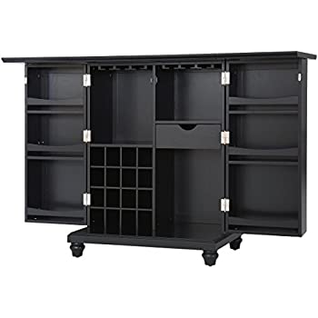 Crosley Furniture Cambridge Expandable Top Bar Cabinet   Black
