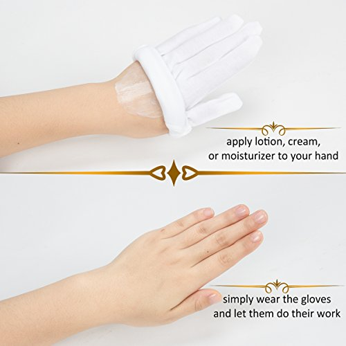 Madholly 12 Pairs Moisturizing Cotton Gloves White Cosmetic Import