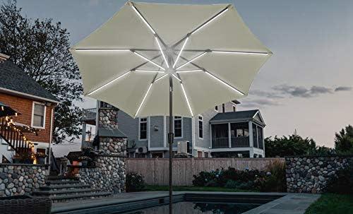 Ginelite LED Umbrella Patio Umbrella Solar Light Outdoor Umbrella Garden Market Umbrella 8 LED Light Ribs
