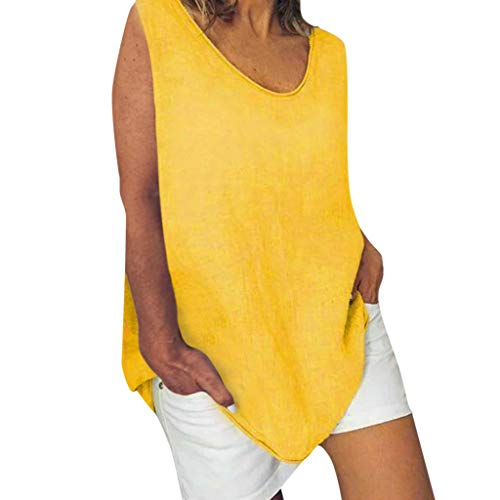 Cotton Linen Baggy Tops Womens Summer Loose Sleeveless Casual T-Shirts Blouse Yellow