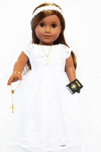 (2013- Communion Dress/Wedding Dress- Modern for American Girl Dolls-Comes Complete With Bible,Cross Necklace, Shoes)