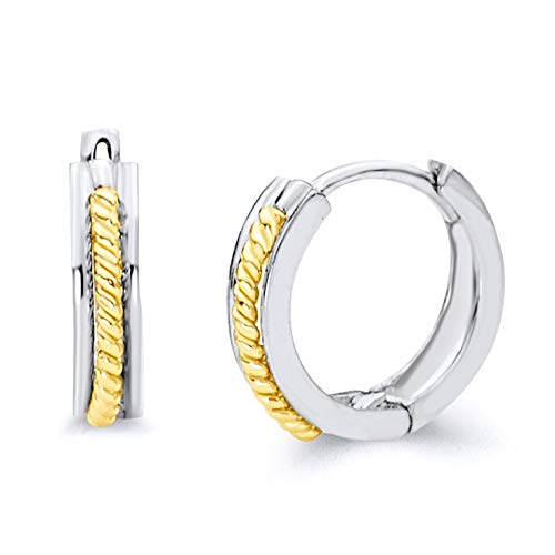 14k Two Tone Gold 2mm Thickness Huggie Earrings (11 x 11 mm)