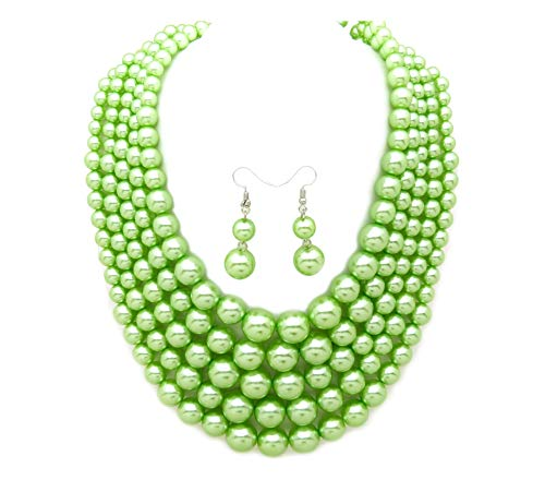 Women's Simulated Faux Pearl Five Multi-Strand Statement Necklace and Earrings Set (Lime Green) (Bead Necklace Earring Set)
