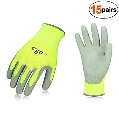 Vgo… PU Coated Gardening and Work Gloves (15 Pairs, Size 9/L and 10/XL) (X-Large, Fluorescent Yellow)