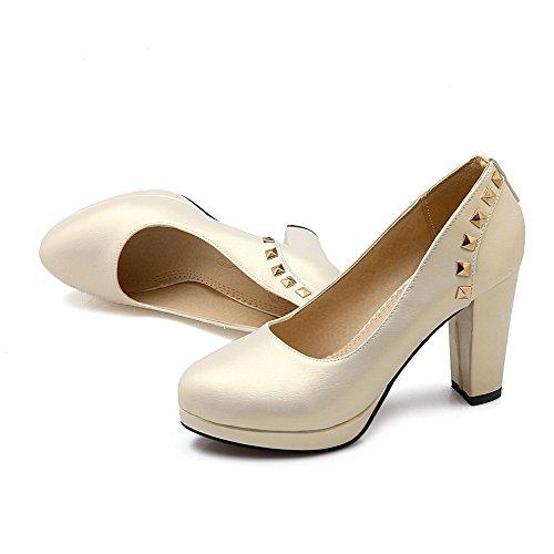 auf Eingelegt Ziehen Damen AllhqFashion Pumps Golden Weiches Material Schuhe Rund Hoher Zehe Absatz tIIUFqzxw