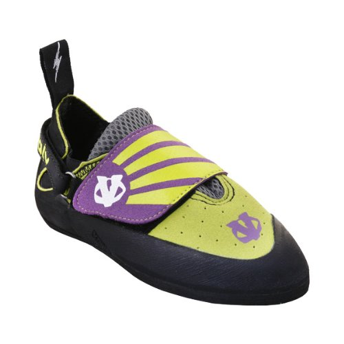 Evolv Venga Climbing Shoe – Kid's Lime/Purple 4, Outdoor Stuffs