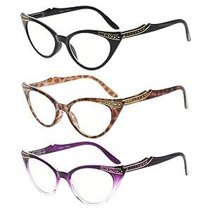Eyekepper Womens 3 Pairs Reading Glasses Ladies' Vintage Cat Eye Readers (Black/Tortoise/Purple Transparent, +0.75)