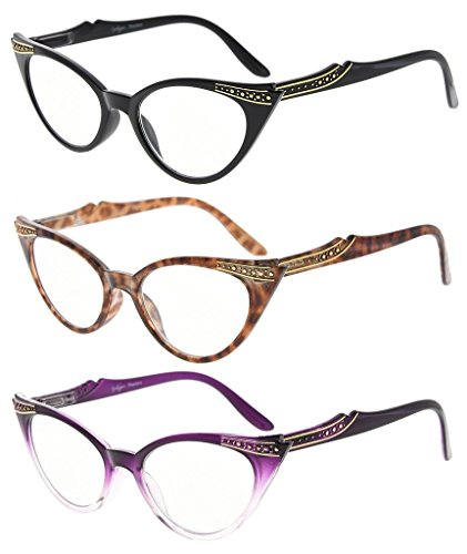Eyekepper Womens 3 Pairs Reading Glasses Ladies' Vintage Cat Eye Readers (Black/Tortoise/Purple Transparent, - Shape Cat Eye