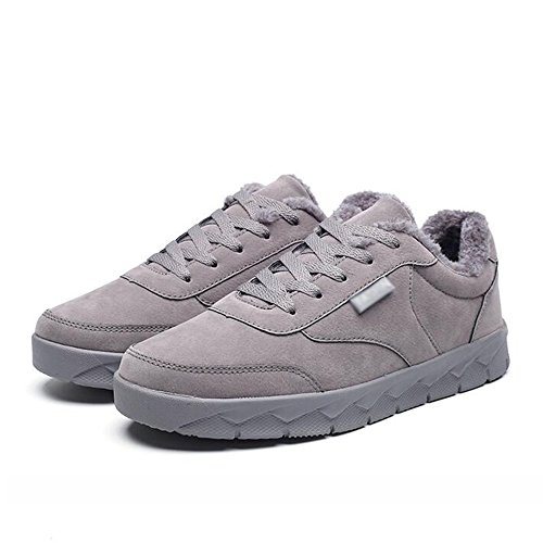 Men's Shoes Feifei High-Quality Materials Winter Sports and Leisure Non-Slip Keep Warm Plate Shoes 3 Colors (Color : Gray, Size : EU42/UK8.5/CN43)