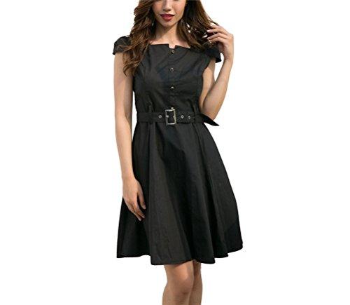 Alltagkleid mit Kleid Knielang Gürtel A Oudan Schwarz Linie Damen Schwingekleid Sommerkleid Kurzarm 4qZZH1x