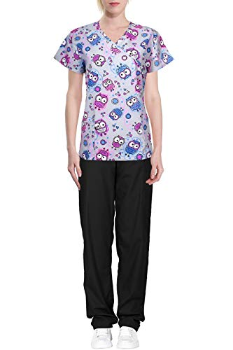 (Green Town Women's Printed Medical Scrub Set Wrap Top and Cargo Pants Grey Black Owl)