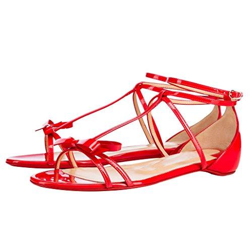 Calaier Mujer Cacatcab Plataforma 0.5CM Sintético Hebilla Sandalias de vestir Zapatos Rojo