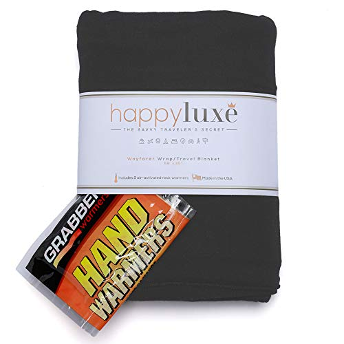 HappyLuxe Travel Wrap and Blanket, Comfort Accessories for Women, Made in USA (Jet Black)