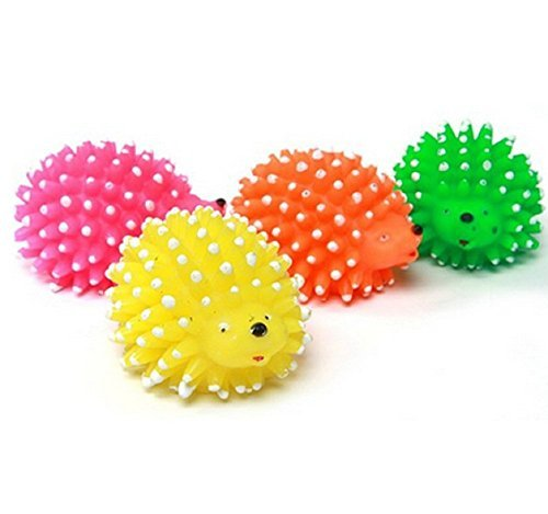 Ball Hedgehog (LRRH Pet Toy Ball Squeak Pet Spiked Toy Hedgehog Modeling Teeth Cleaning Soft Rubber Pack of 4( Random Color))
