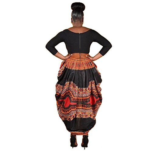 Women Dress,Haoricu Women Irregular African Print Dress Casual Long Sleeve Party Dresses (XL, Black)