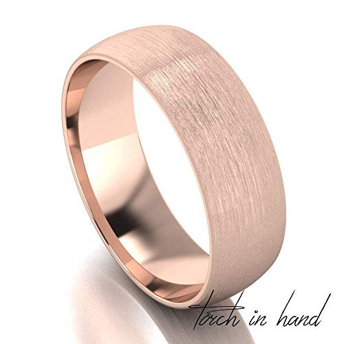 (Solid 14k Gold Satin Finish Comfort Fit Wedding Band (2mm, 3mm, 4mm, 5mm, 6mm, 7mm wide)