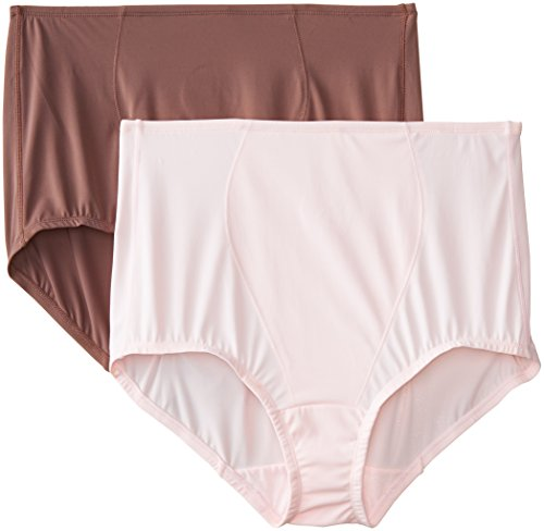 Olga Women's Without a Stitch Light Shaping Brief Panty Pack of 2, Espresso Bean/Pink, XXXL / 10