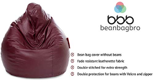 Bean Bag Bro (Not Made in China) USA Based Jumbo SAC Bean Bag Elegant Maroon Indoor-Outdoor Best Bean Bag Chair for Kids-Only Cover/Without Fillers