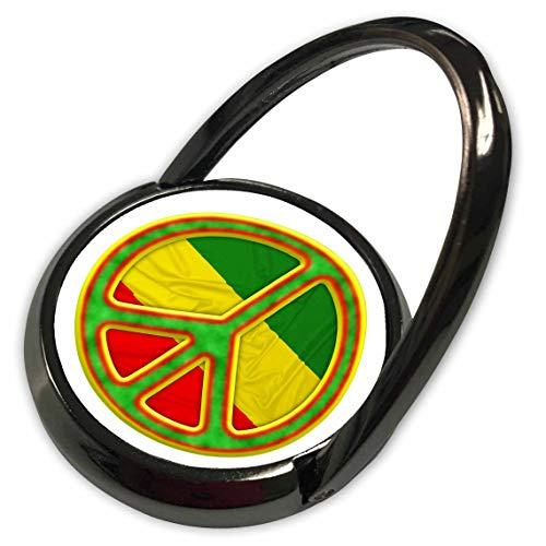 (3dRose Macdonald Creative Studios – Caribbean - A Rastafarian Peace Symbol in Rasta Colors of red, Yellow, and Green. - Phone Ring (phr_295621_1))