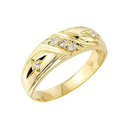 Men's 10k Yellow Gold 5-Stone Diamond Wedding Ring Band (Size 14)