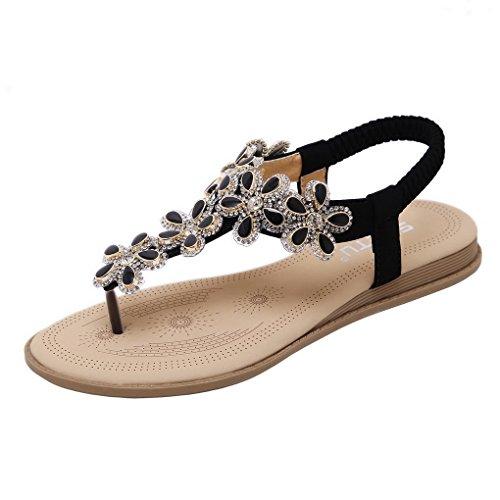 ACMEDE Women Flat Sandals Flower Rhinestone Elastic Strap Summer Beach Shoes Boho Flip Flops Black 5irhL