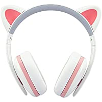 Censi Wired Cat Ear Headphones - Over Ear Wired Noise Canceling Headphones for Smartphone, PC (White)