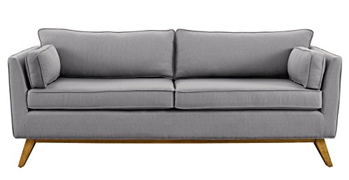 TOV Furniture The Sussex Collection Modern Contemporary Fabric Upholstered Wood Living Room Sofa Couch, Light Gray