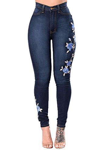 Leggings Slim Bleu WanYang Jeans Printemps Femme Pantalon Profond Automne Pants Haute Crayon Taille Denim xaqaHp4zw8