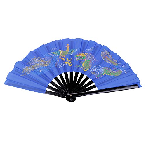 Aship Dragon Phoenix Bamboo Chinese Martial Arts Fighting Fan Single Sided Tai Chi Kung Fu Fan Karate Fans Chinese Kung Fu Fighting Fans Wushu Fan for Performance Dance Blue 13.39inches