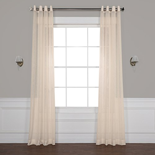 Half Price Drapes SHCH-SS071611-96-GR Grommet Solid Faux Linen Sheer Curtain, 50 X 96, Cotton Seed For Sale
