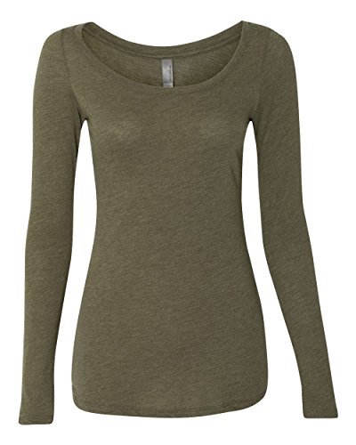 Next Level Apparel 6731 Lady Tri-Blend Long-Sleeve Scoop - Military Green, Small