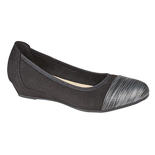 estilo ancho mujer para casuales Boulevard Negro de Zapatos bailarina especial XqEvRw