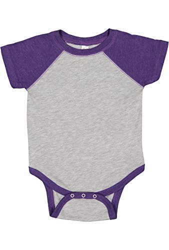 (Rabbit Skins Infant Jersey Raglan Short Sleeve Baseball Bodysuit (Vintage Heather/Vintage Purple, 12 Months))