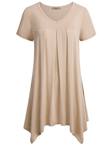 Miusey Tunic Shirts for Women to Wear with Leggings, Womens V Neck Short Sleeve Pleats Handkerchief Hem Top Medium Beige